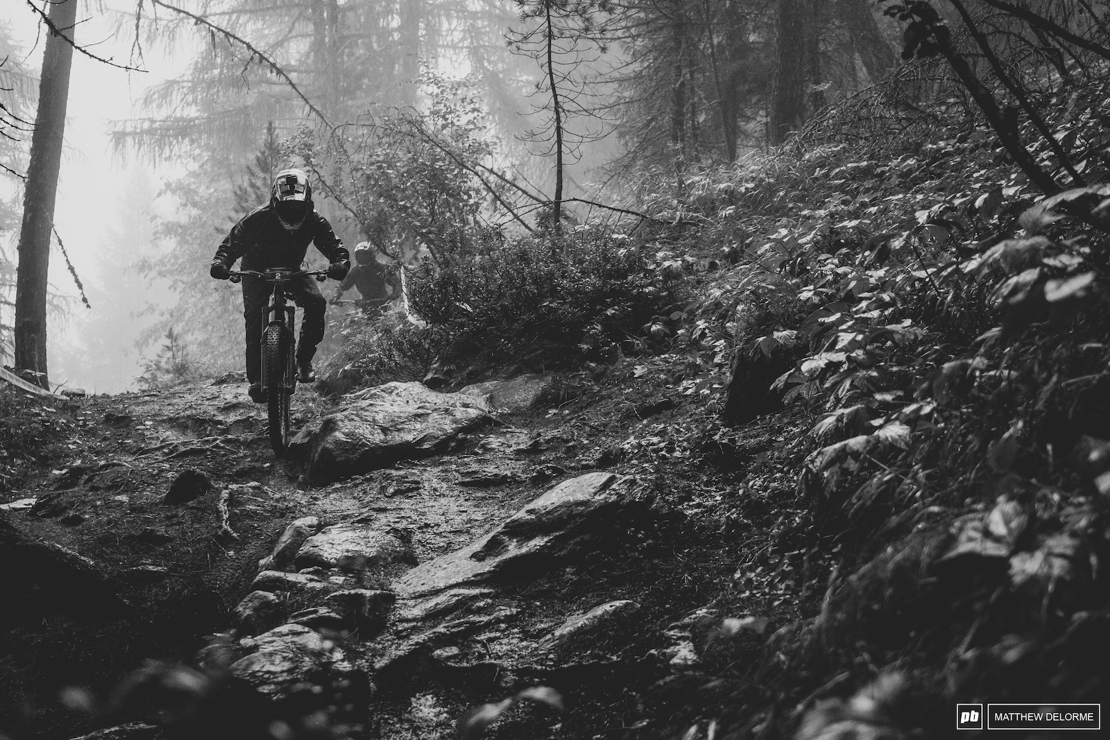 Florian Nicolai making his way through the roughness of the woods with ease.