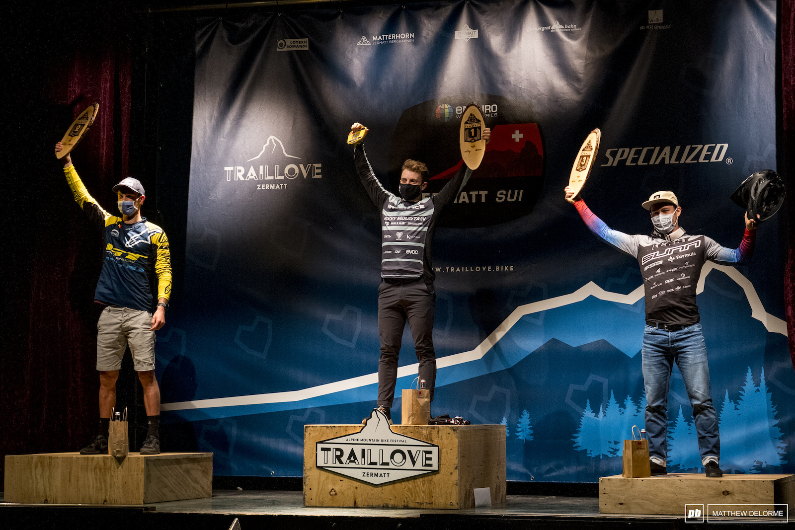 Jesse Melamed Martin Maes and Theo Gally. Pro Men s podium.