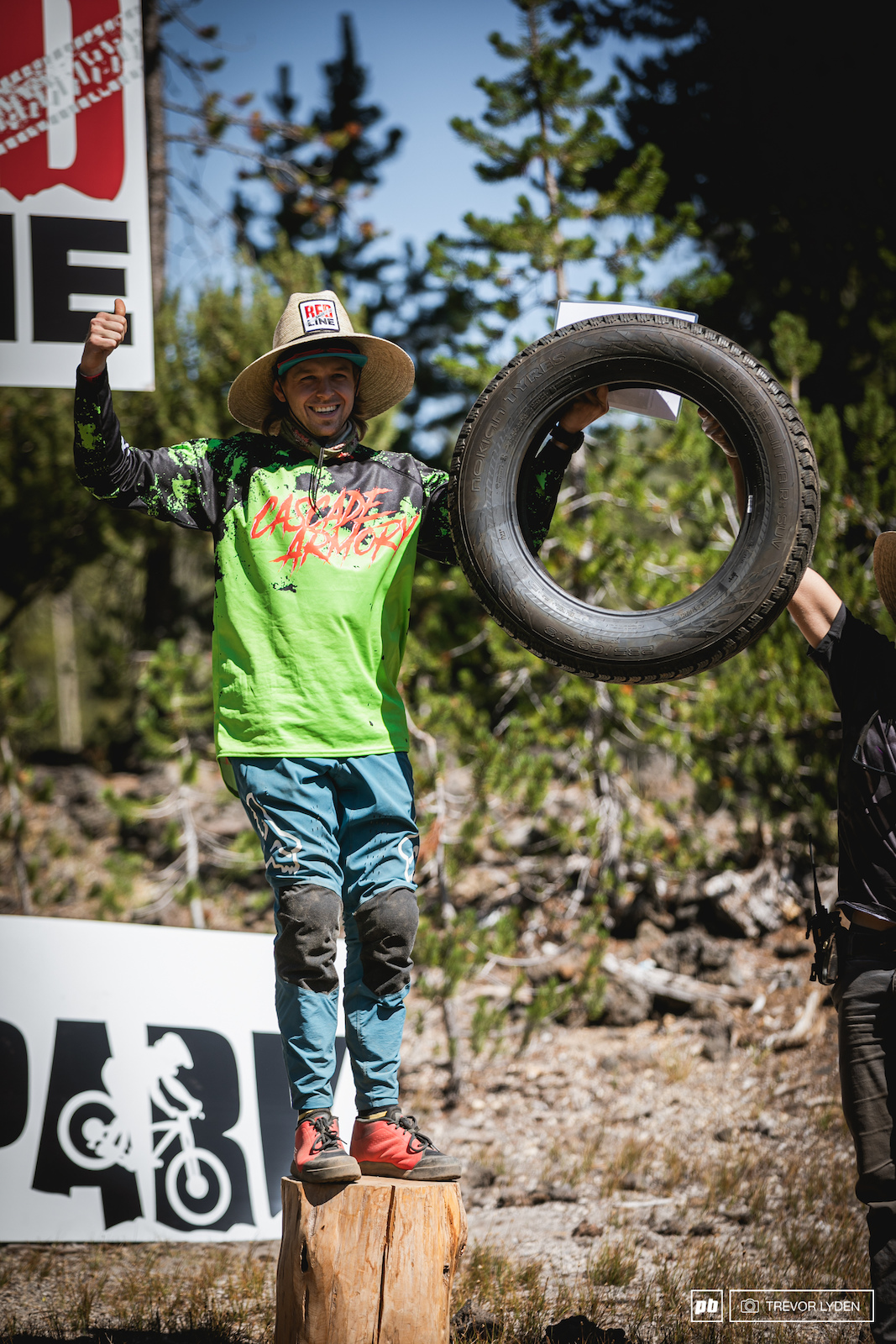 Austin Hempdogg got a new set of Nokian tires for his best trick. A huge whip with the foam finger on.
