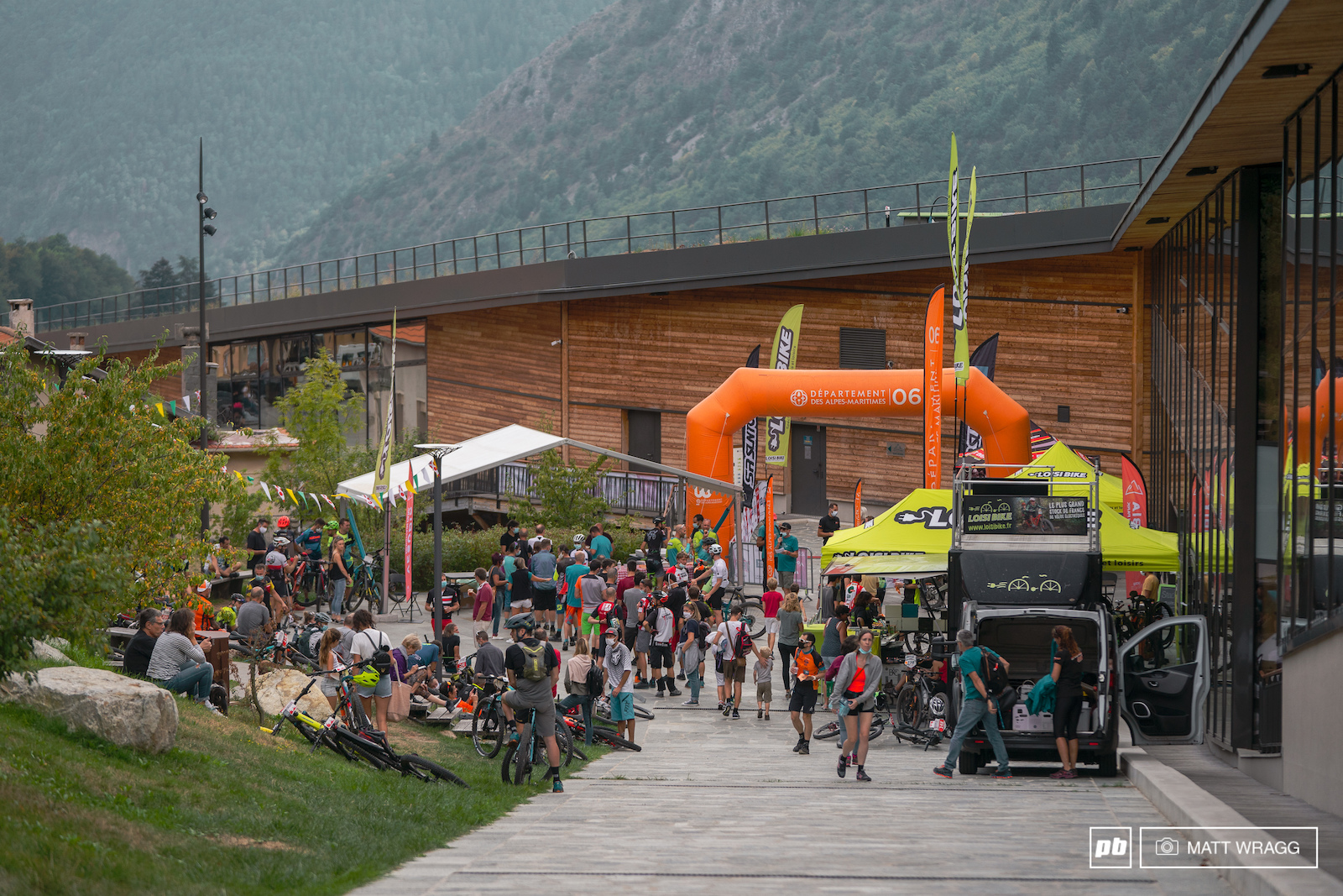 Riders gather at the finish in St Martin.