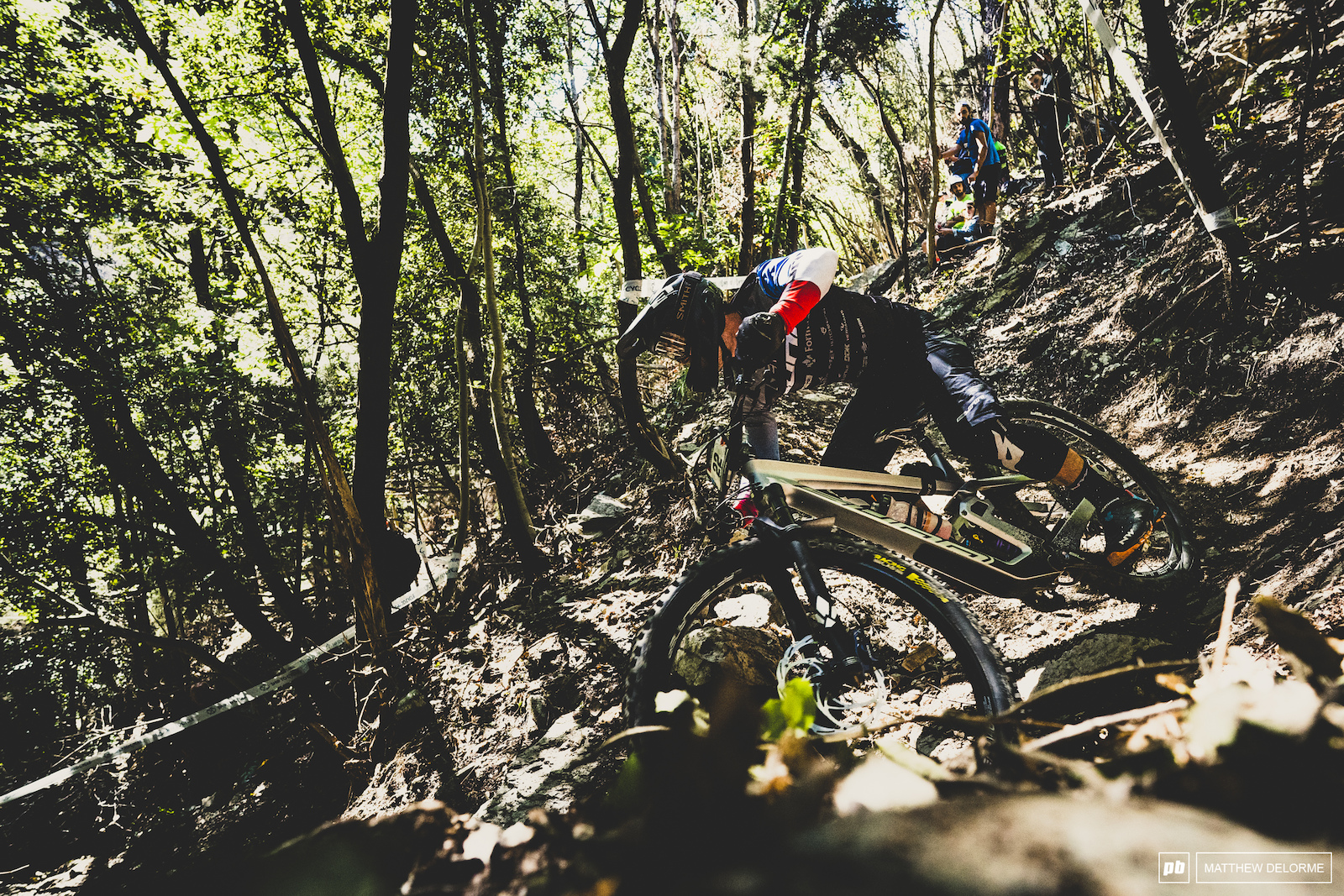 Theo Galy slaying switchbacks on the steeps of stage two. The dirt was phenomenal on those turns.