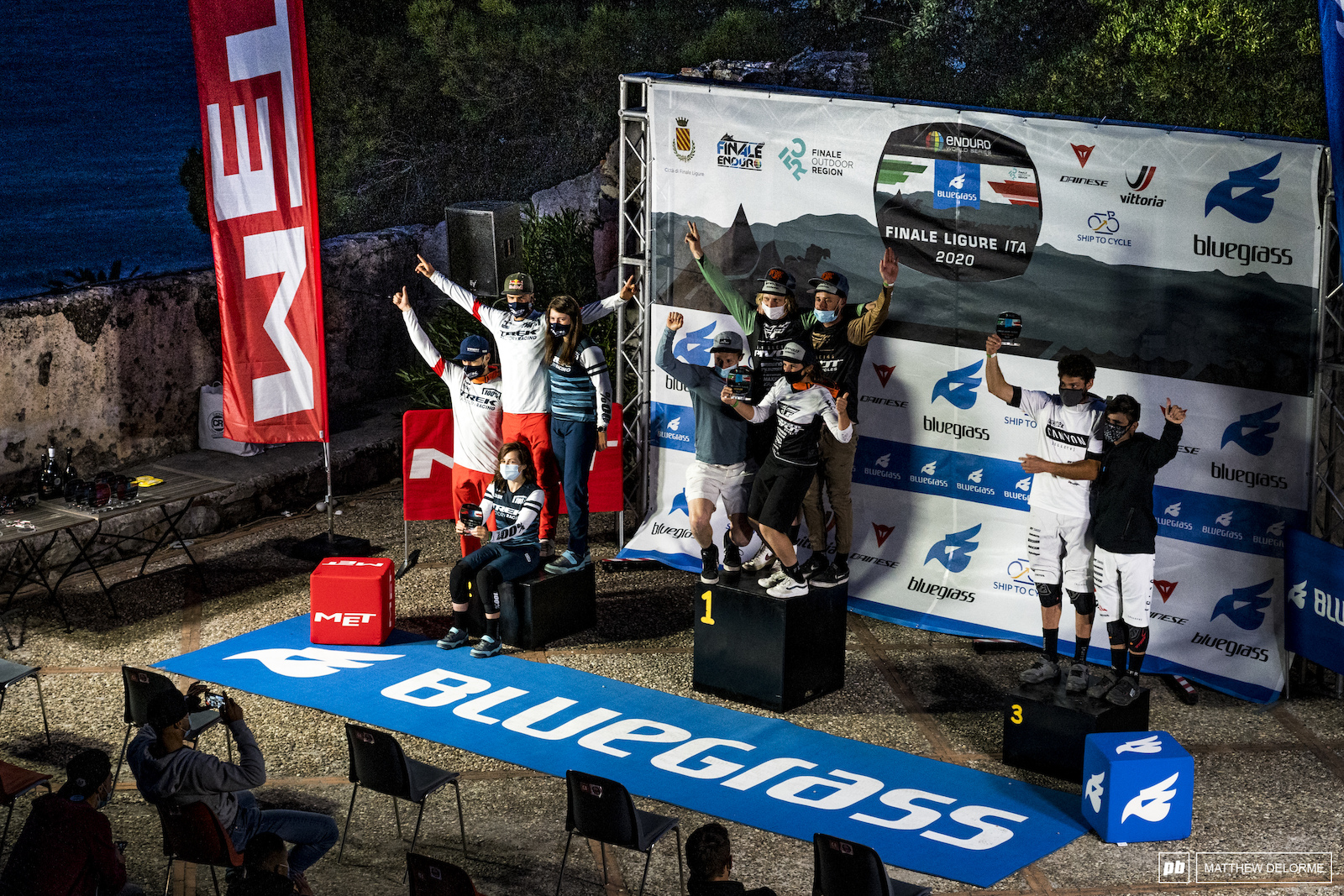 Top teams in Finale Ligure Pivot Factory Trek Factory and Canyon Collective.
