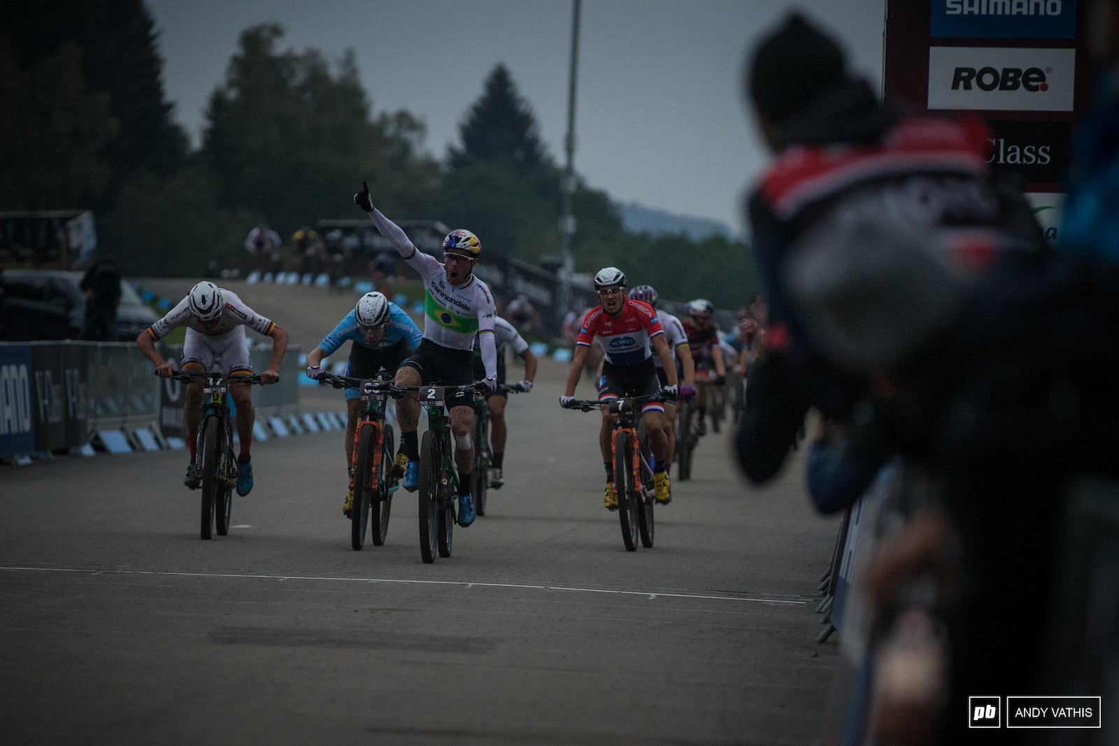 Avancini takes this one as everyone around him sprinted for the finish.