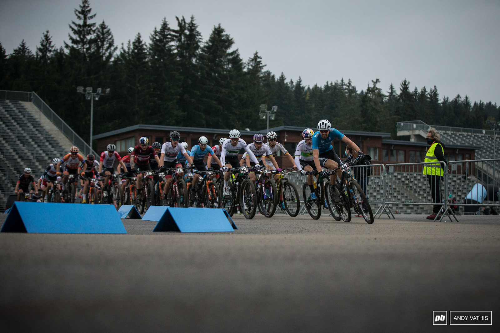 Leandre Bouchard in front as the laps counted down.