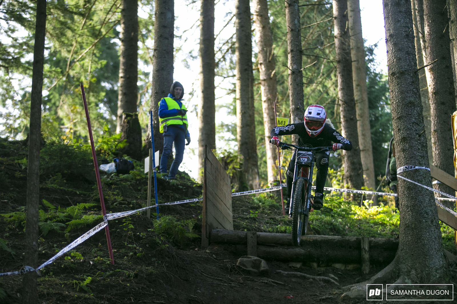 Sophie Gutohrle in full attack mode at the top of the course.