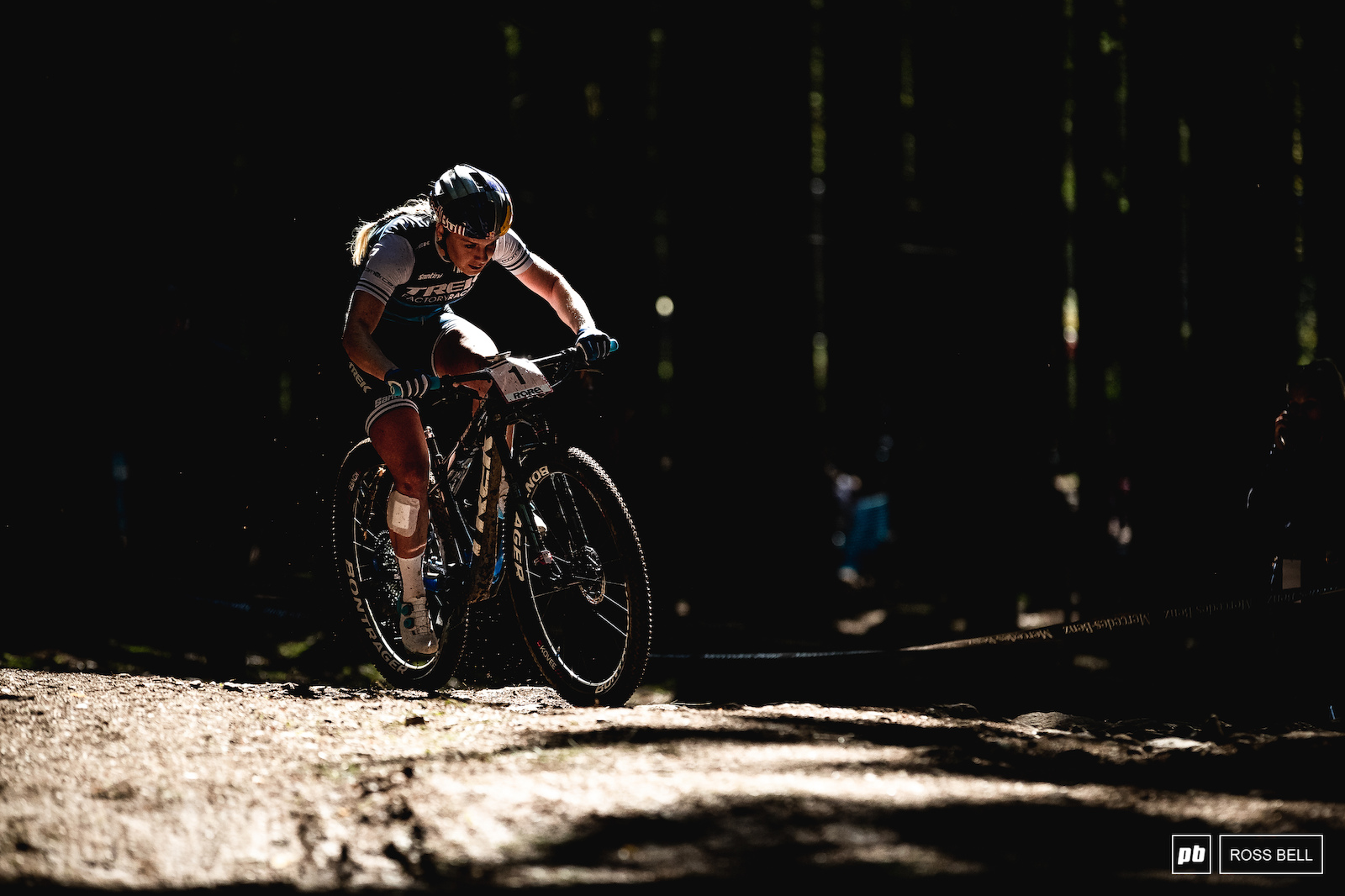 Evie Richards emerges from the darkness. Check out what s keeping her company in her rear-wheel...