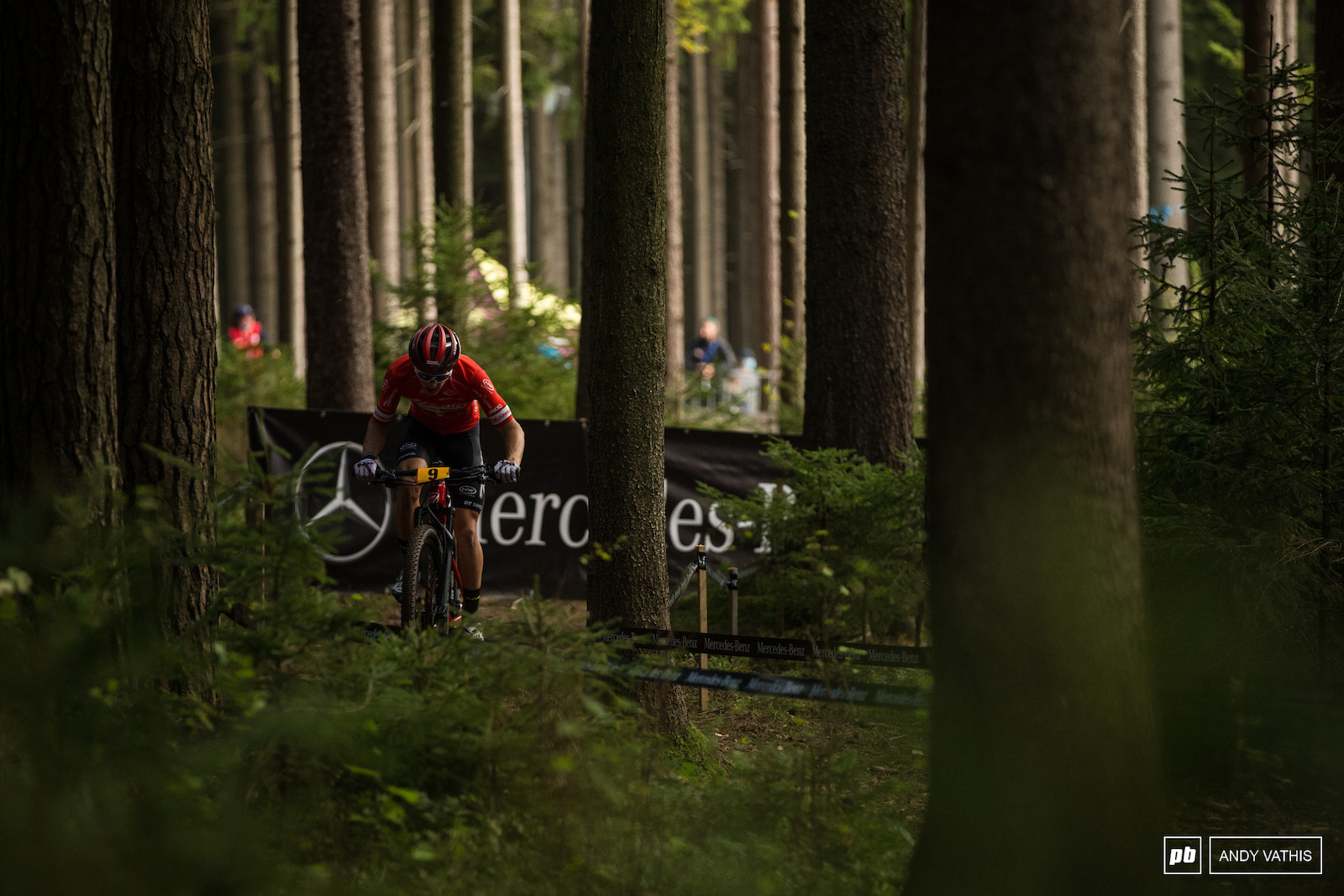 Vital Albin through the tall pines. He d close out the podium in third.
