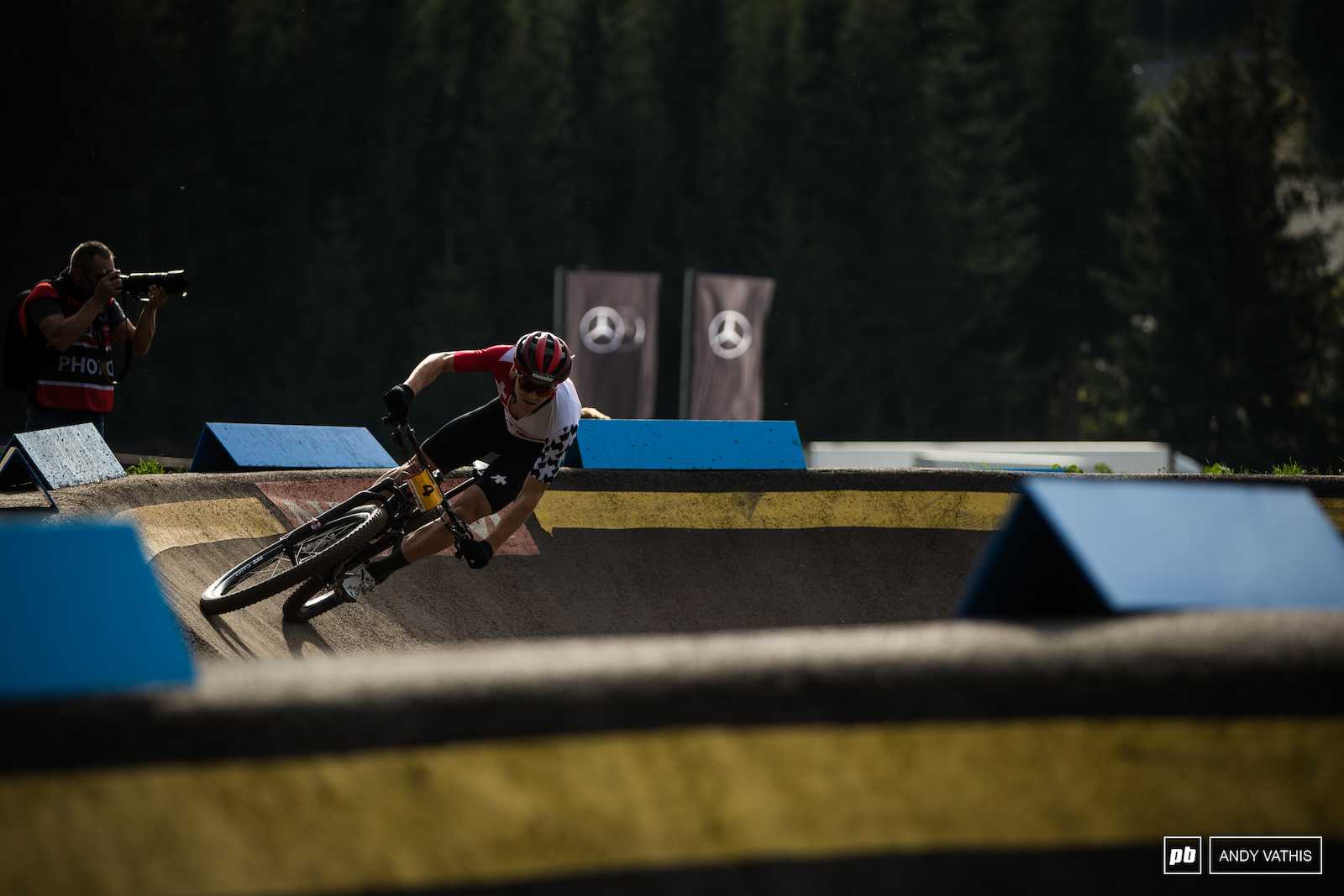 Joel Roth attacking the pump track for fourth.