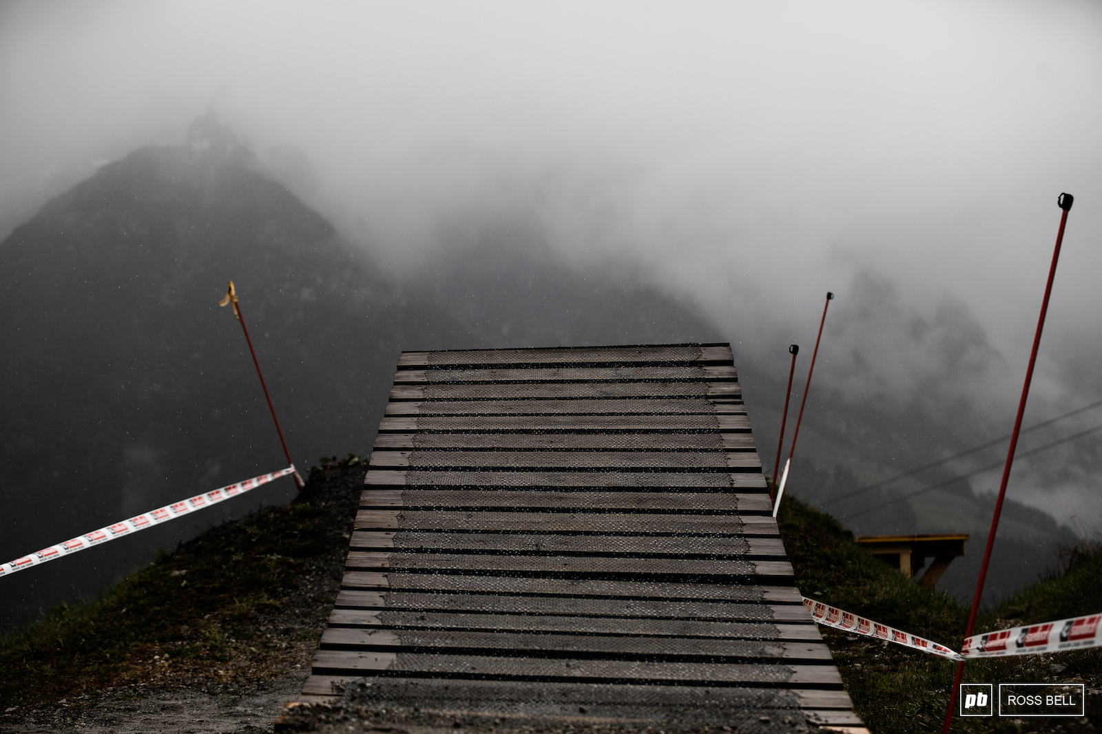 Riders normally get a good view of the Leogang mountain range on this takeoff not so much today.