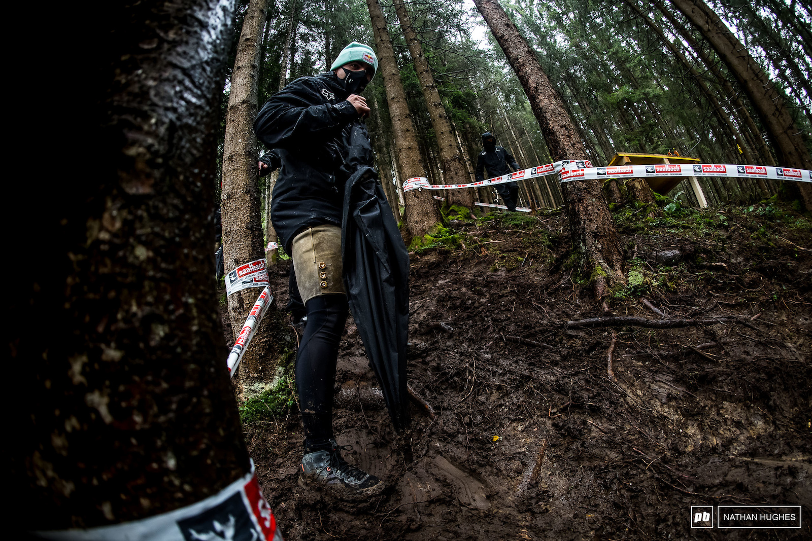 A lederhose-clad Bruni slipping down through the forest.