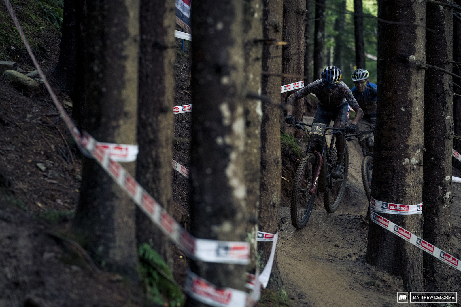 Tom Pidcock on his wat to the win here at the Leogang Covid-19 E MTB worlds.