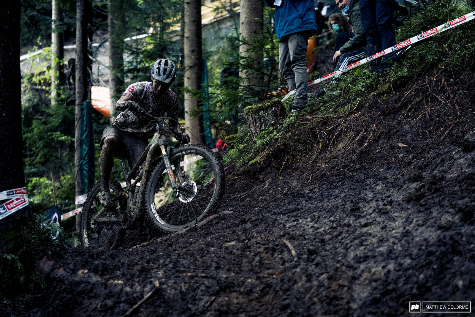 Kenta Gallagher doing what any fine Scottish lad does in the mud- rails ruts.