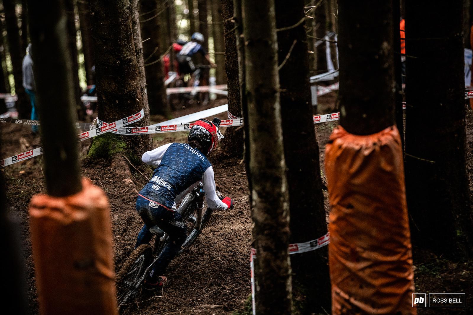 Hugo Frixtalon weaves through the trees in the fresh section.