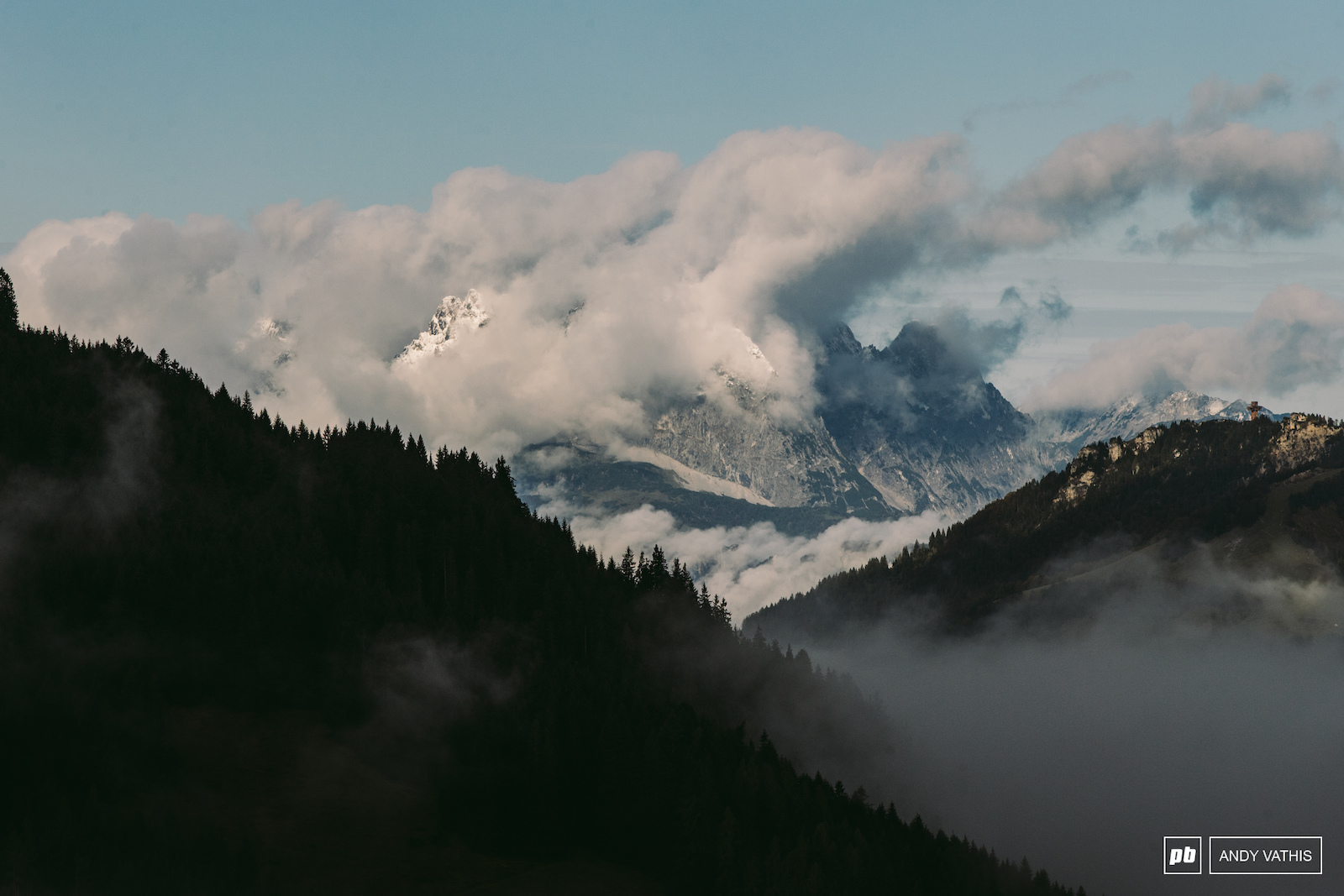 The ever dramatic Austrian peaks greeting riders first thing in the morning.