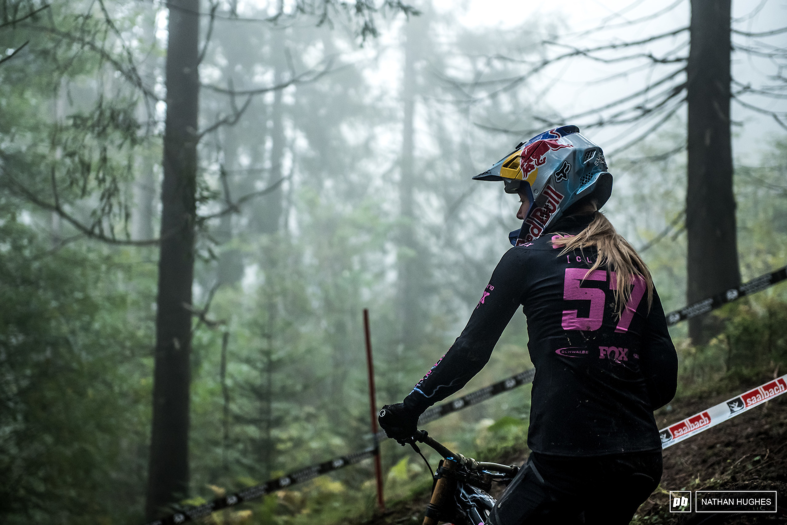 B Practice was something of a mare with many riders littering woods all the way down. Tahnee Seagrave waits for the traffic to thin.
