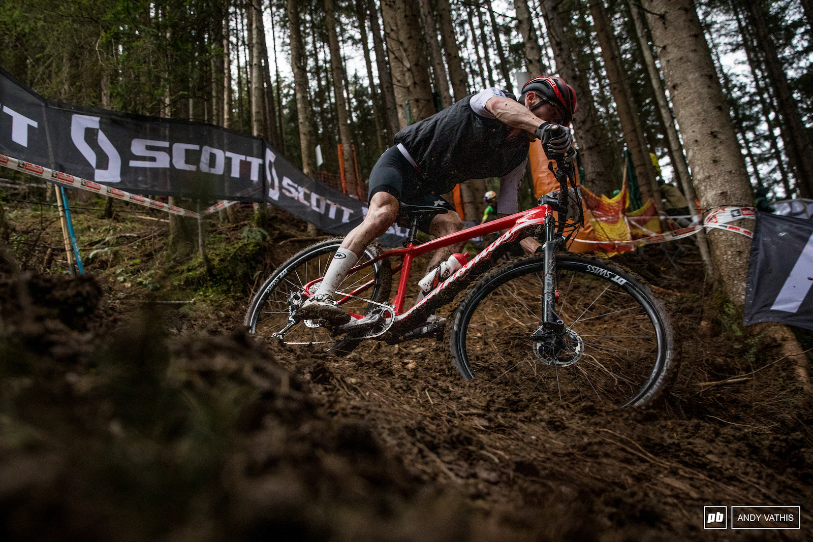 Mathias Flueckigger railing the inside rut. Second place for him today.