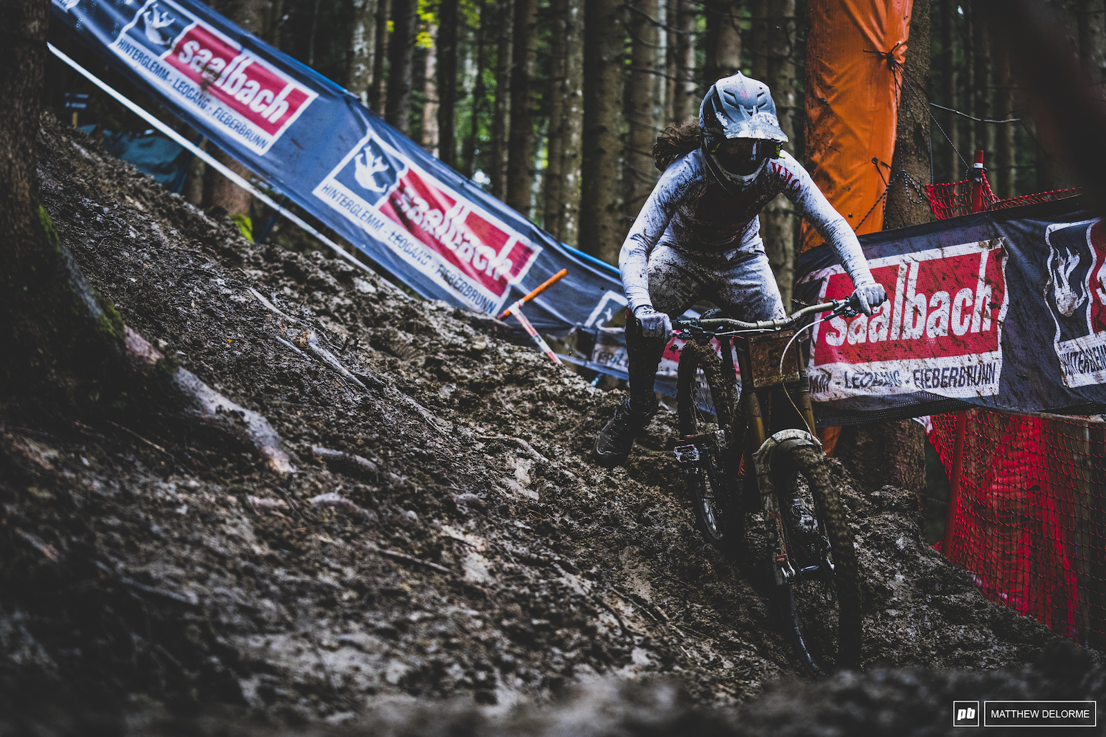 Camille Balanche took the win for the women Slipping and sliding just enough to keep her speed up in the woods.