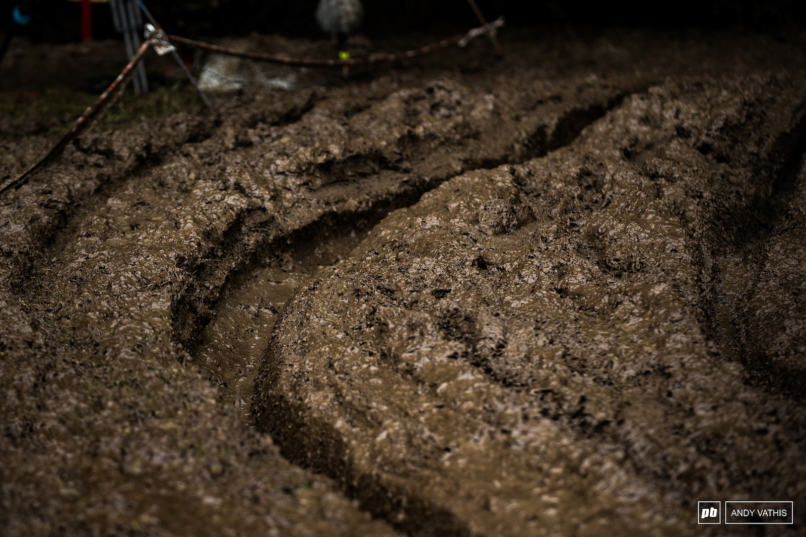Crank deep ruts littered the course. You were either in or way out.