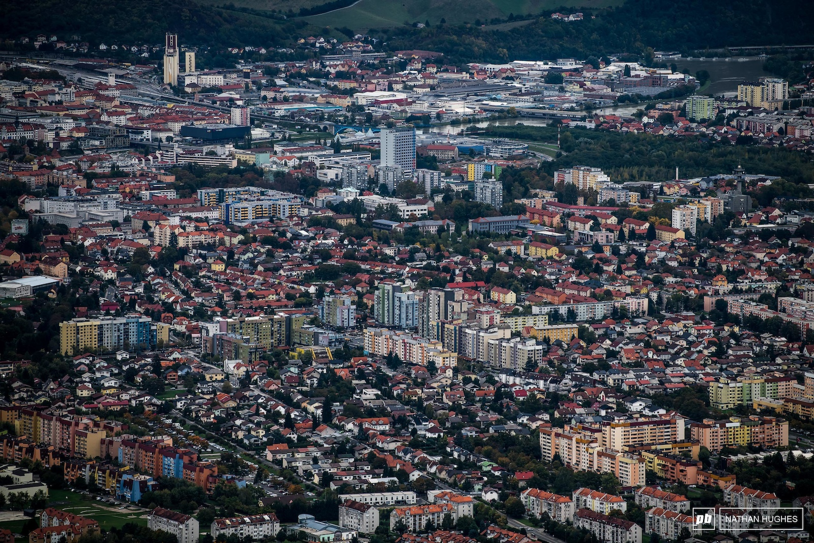 The city of Maribor sprawls out below the forested mountainside the hides the World Cup track.