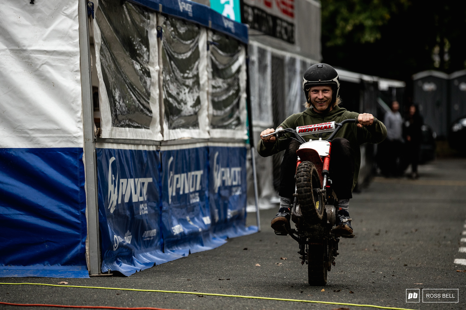 Bernard Kerr gets his daily quota of wheelies in.