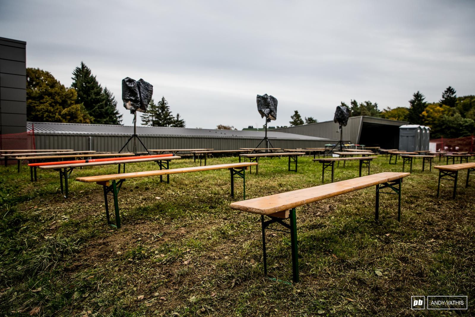 Benches in place of the grand stands at the finish. Definitely different times at the races for the foreseeable future.