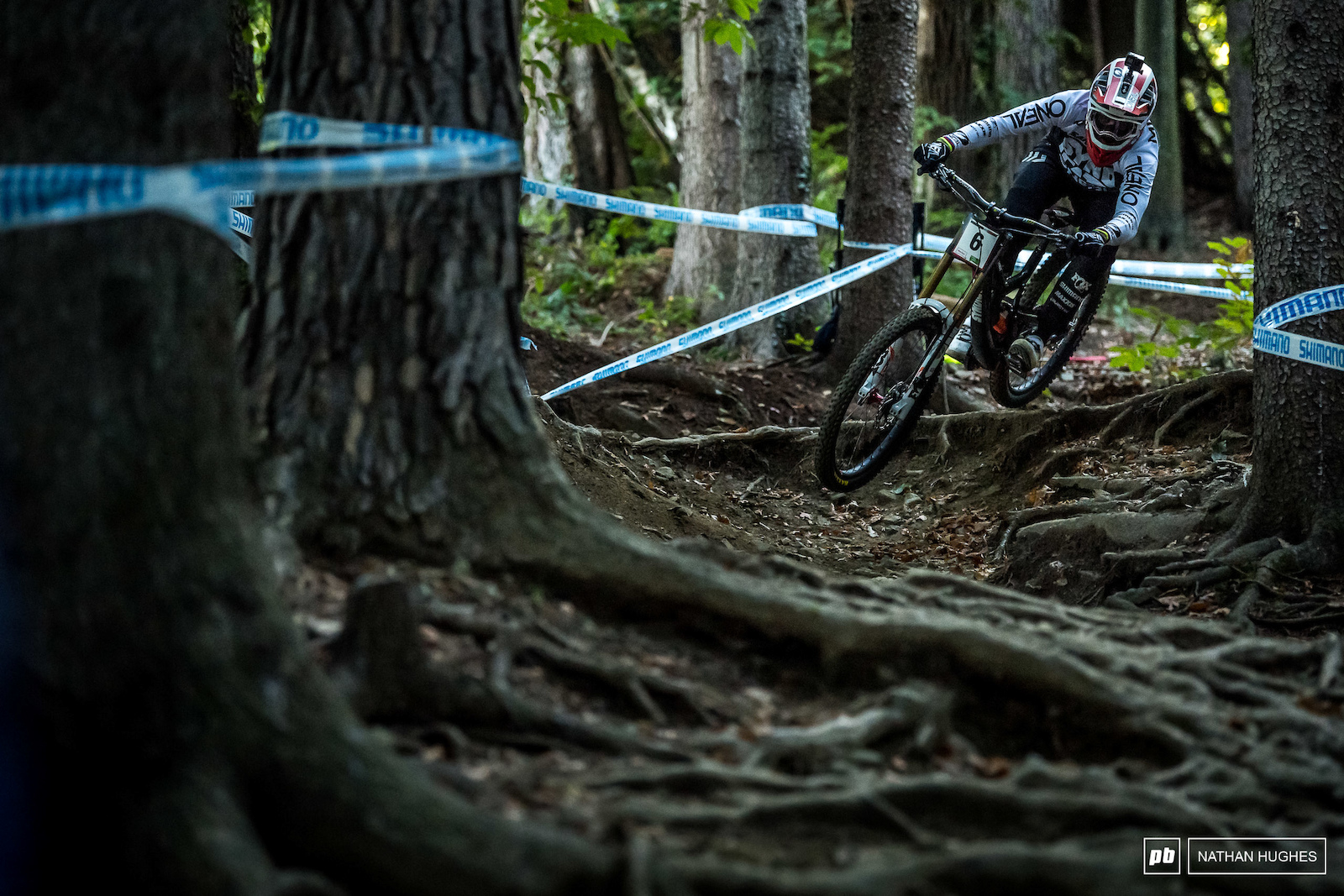 Greg Minnaar holding the throttle open into the root nests mid-track.