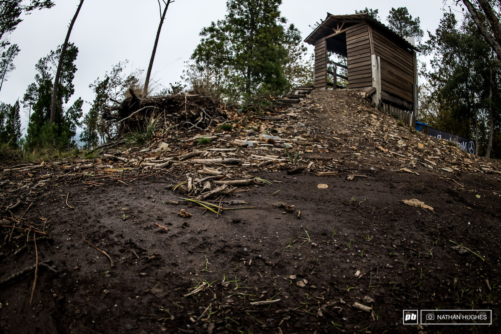 Humble beginnings with the start hut at the top of the bike park.