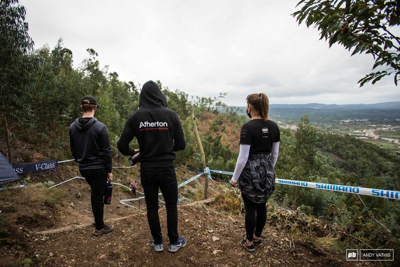 The Atherton Racing gang checking out the open steep part.