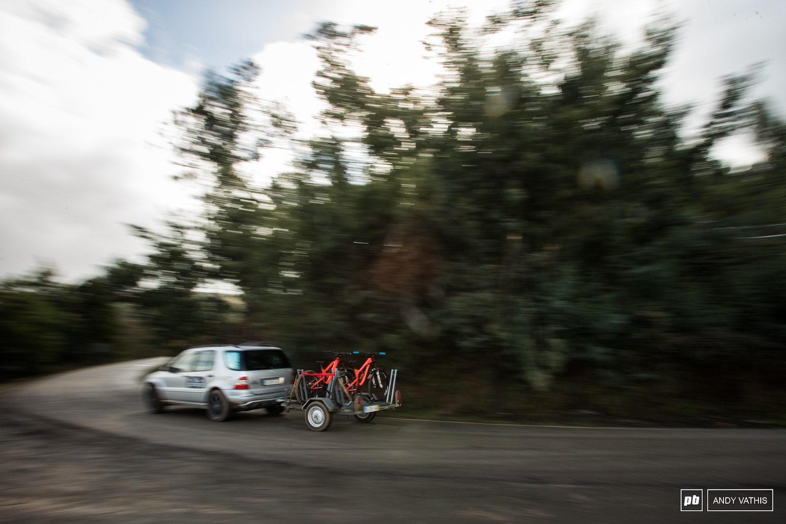 Shuttles ran endlessly up the tight twisty road. The Saracen boys getting a private lift to the top.