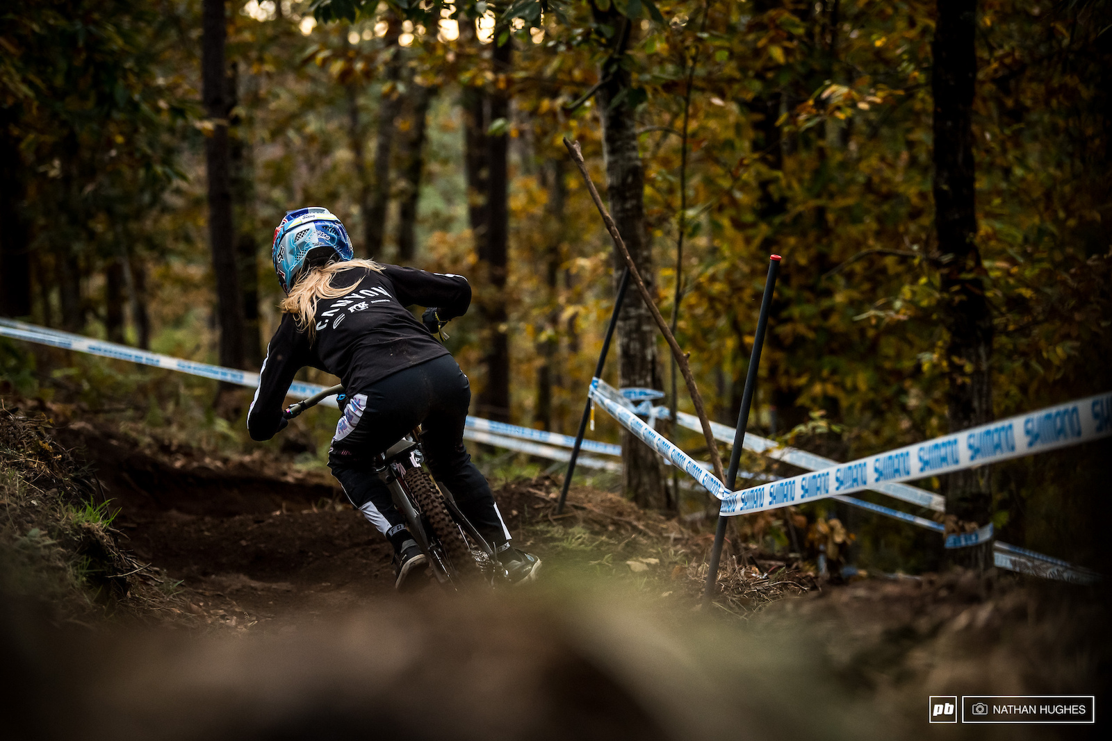 Tahnee Seagrave was one of the last riders on the hill today taking her time to figure out the secrets of the steeps.