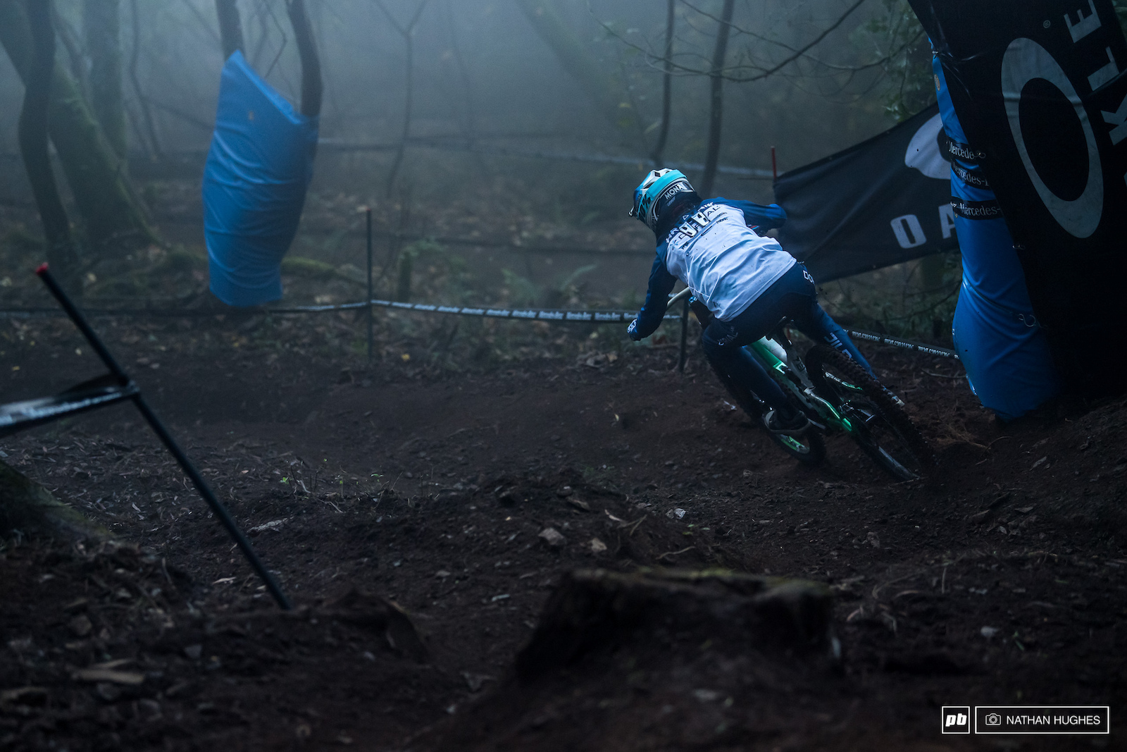 Monika Hrastnik delving deep into the misty last forest section.