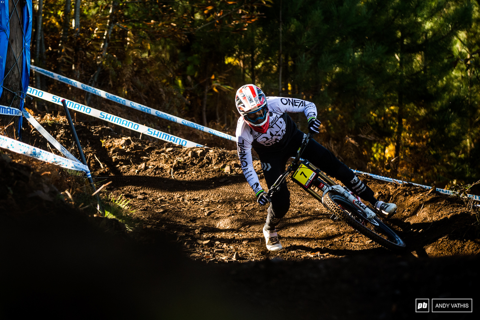 Greg Minnaar looking for grip during practice making mental notes of where he can push a little harder without too much consequence.