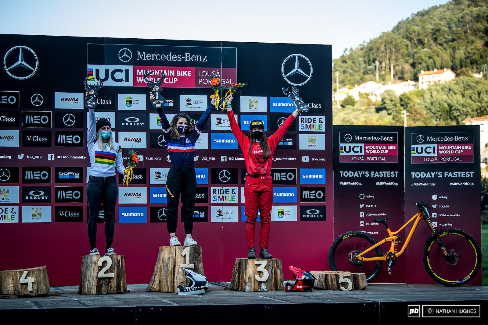 WC Round 3 Junior women s podium Leona Pierrini Lauryne Chappaz and Aina Gonzalez Grimau.