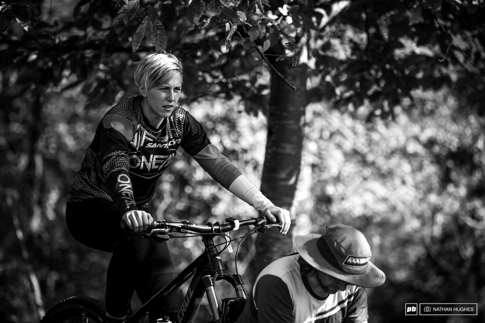 German DH sensation Nina Hoffmann getting the legs primed for some fierce pedalling.