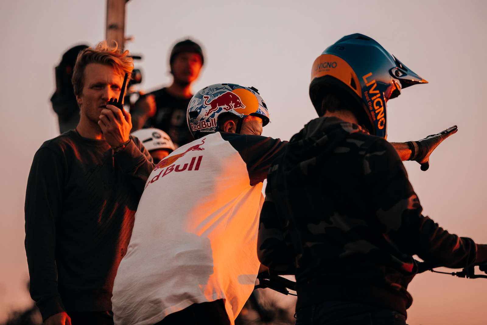 Director Andi Tillmann getting the gang ready to drop in in one of countless golden hour sessions.