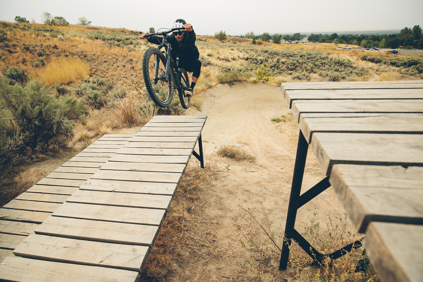 Making the one way a two way with a big up in the drop zone at the Eagle Bike Park.