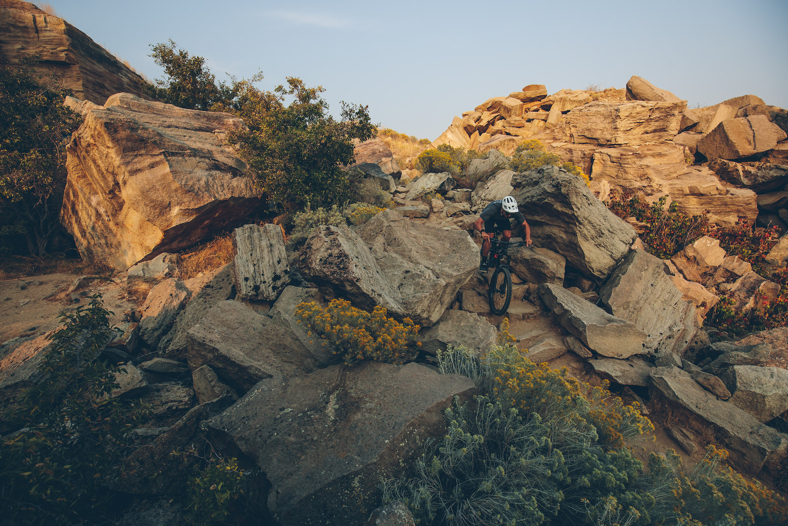 Braydon Bringhurst fully committed through one of Table Rock s most technical sections of trail.