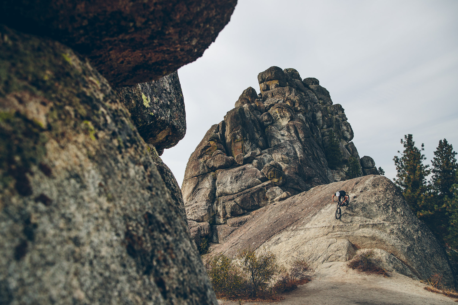 Braydon Bringhurts playing around on the rock rollers on the iconic StackRock Trail