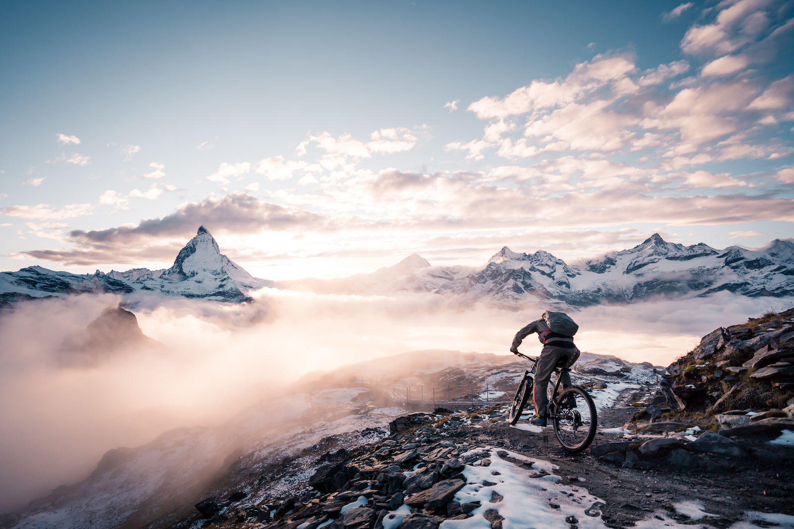 Riding in front of the Matterhorn just after some snowfall at sunset