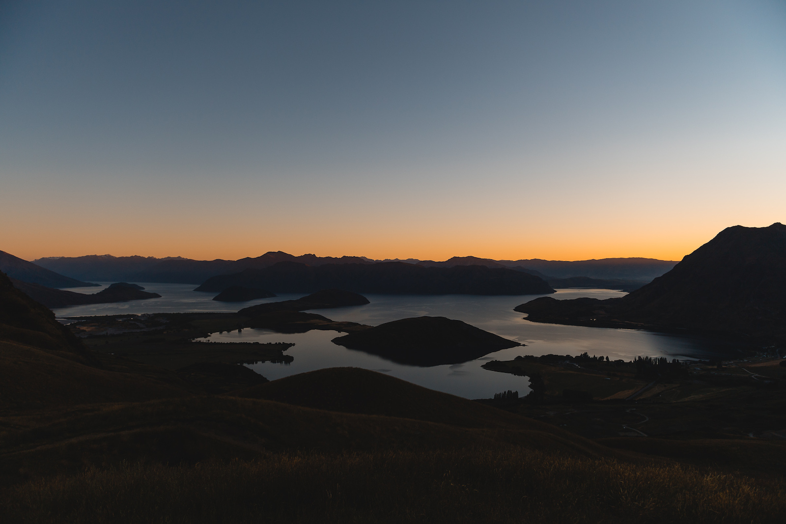 The stunning view from the high point of Bike Glendhu just before dawn.