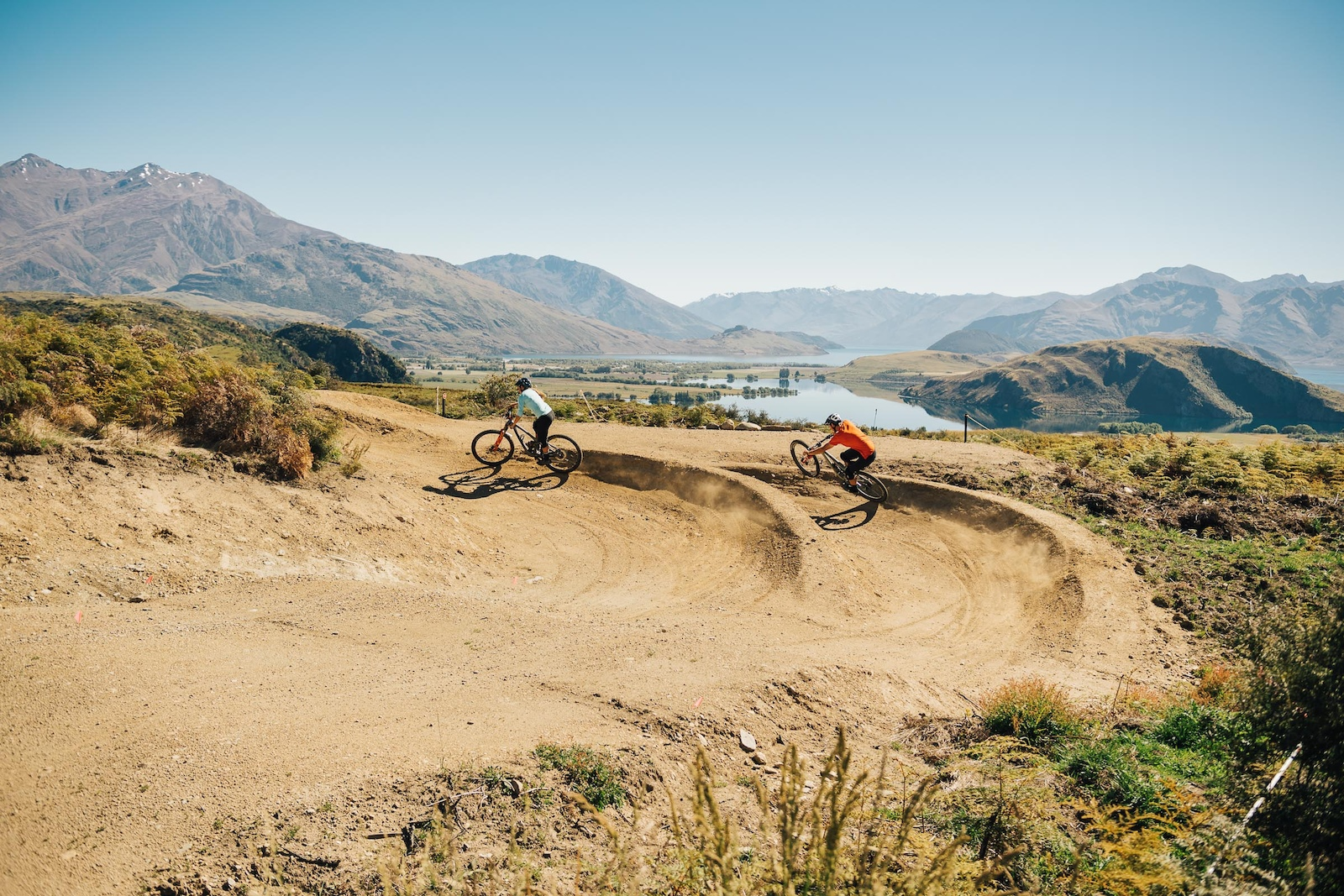 Race is on down the dual slalom track. What a backdrop for a race