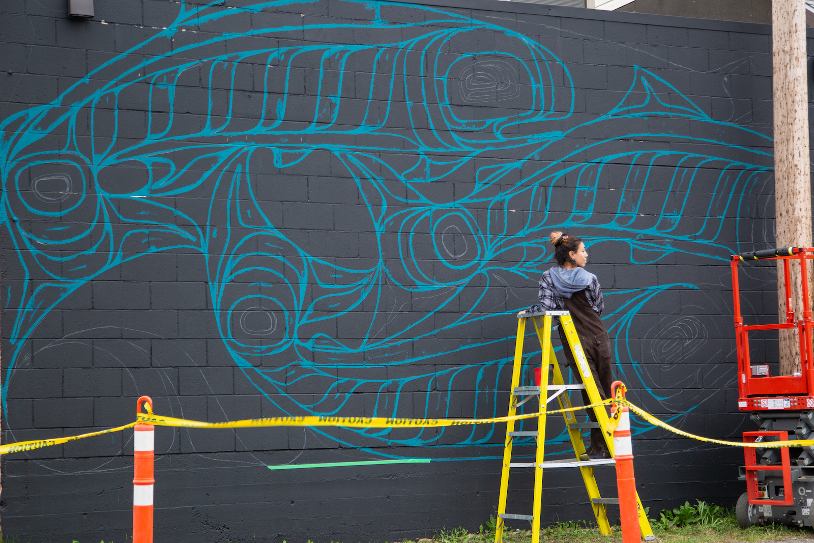 One of the 5 new murals painted in Terrace in 2020 commissioned by the Skeena Salmon Arts Festival Society. The 2020 theme was celebrating sense of place in the Northwest .