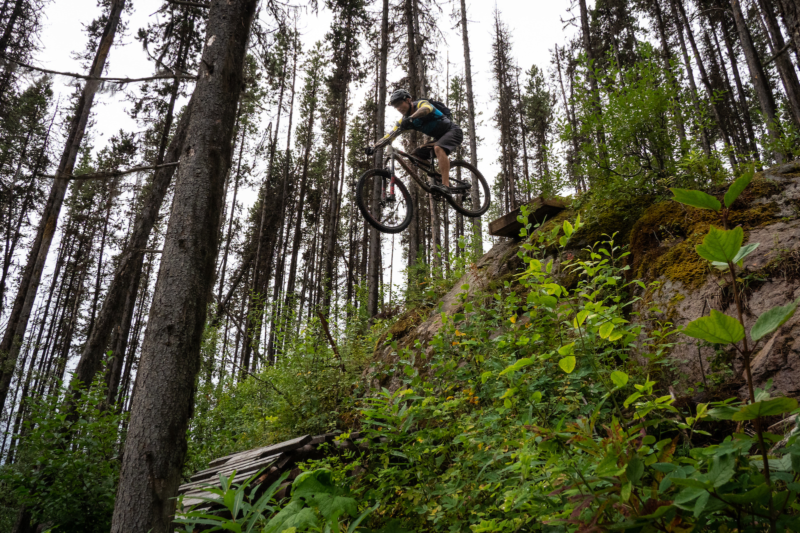 Dave sending the rock drop onto some slick wood on a soggy day in Smithers.