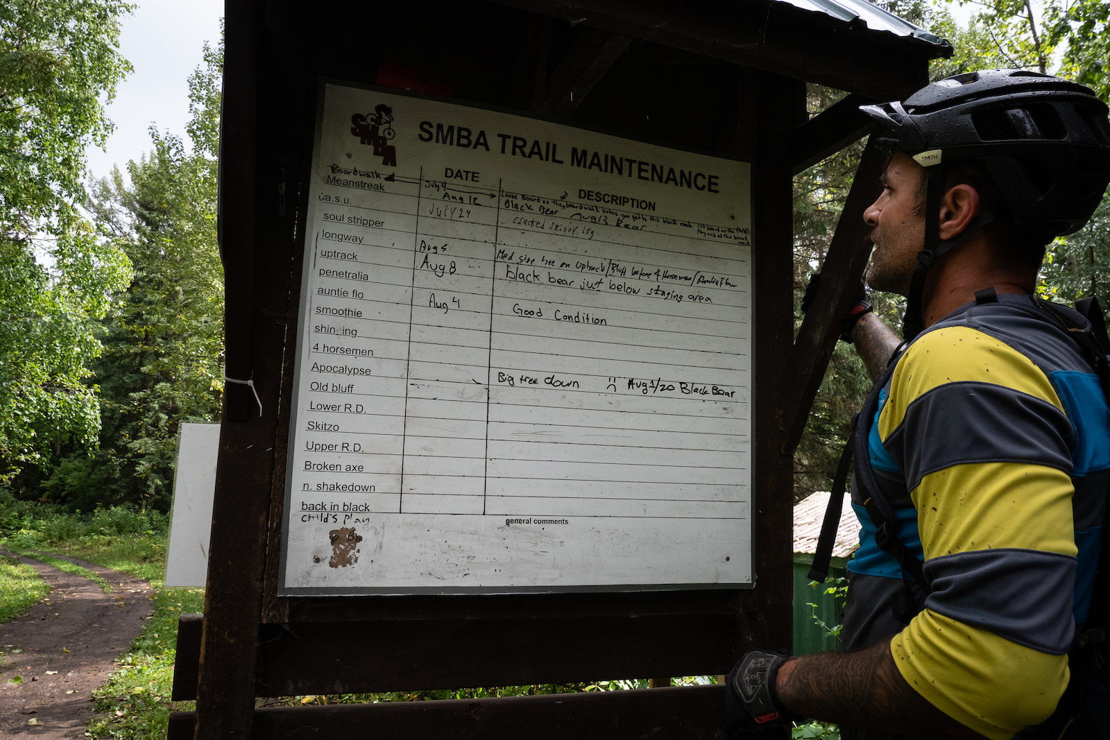 SMBA trails manager Dave Percy checking out the user updated maintenance board.