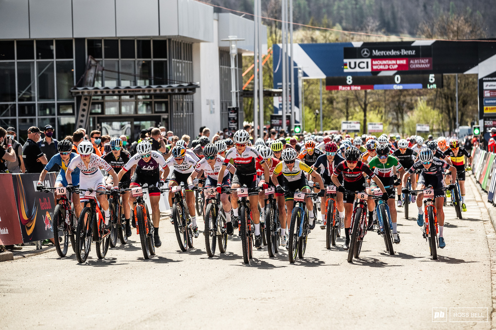 It s a long drag to the first turn in Albstadt meaning the start wasn t quite as fierce as it can be.