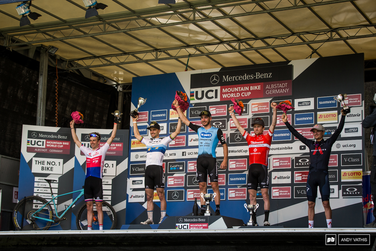 Your top 5 men 1st Victor Koretzky 2nd Nino Schurter 3rd Mathias Flueckiger 4th Ondrej Cink 5th Thomas Pidcock