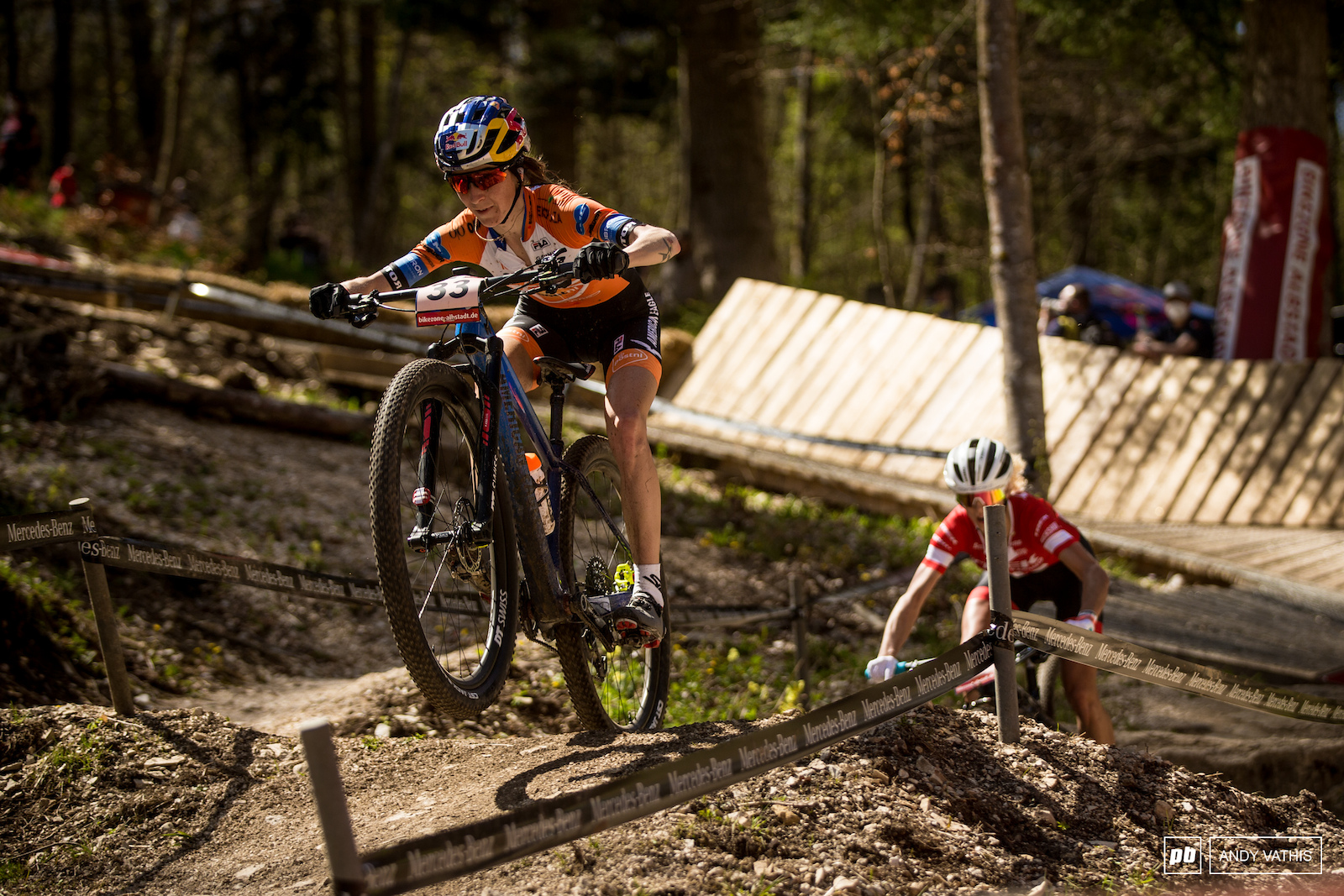Yana Belomoina catching air and closes out the podium after a strong ride.