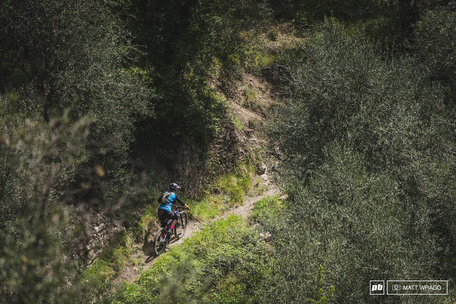 There is a small bonus trail that drops back into Olivetta from the border.