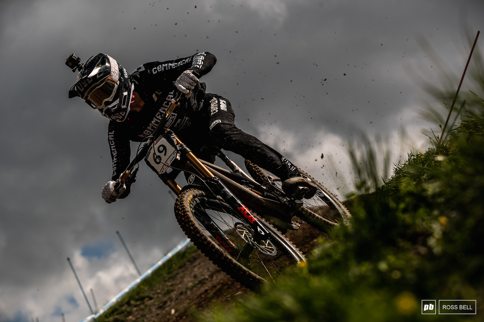 Hugo Frixtalon flicking up roost before the heavens opened and the track became saturated.