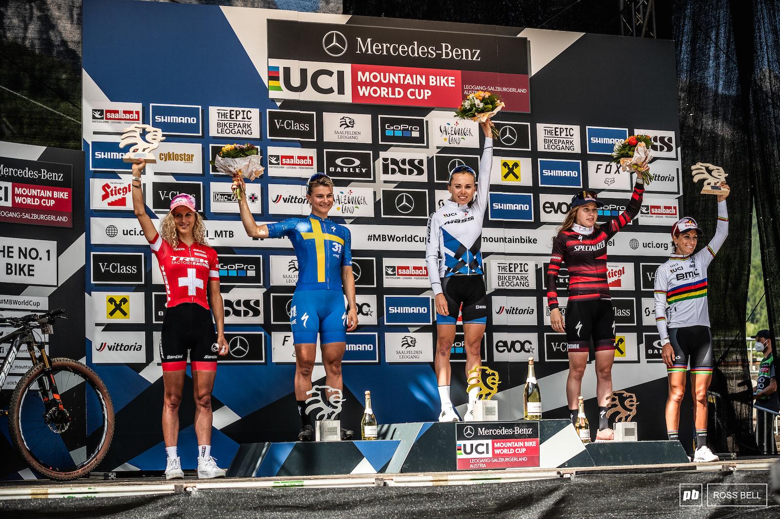 Your top 5 elite women 1st Loana Lecomte 2nd Jenny Rissveds 3rd Laura Stigger 4th Jolanda Neff 5th Pauline Ferrand Prevot